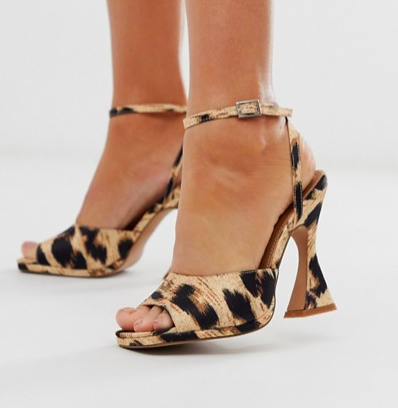 ASOS DESIGN Hakka platform heeled sandals in leopard