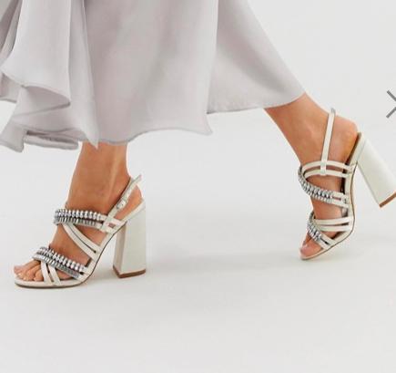 ASOS DESIGN Honeymoon embellished block heeled sandals in ivory
