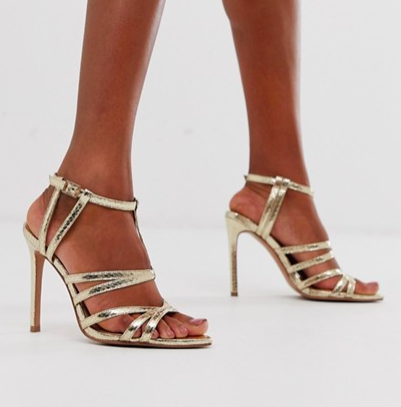 ASOS DESIGN High Maintenance strappy pointed heeled sandals in gold snake