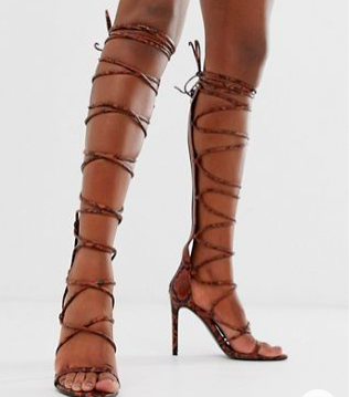 ASOS DESIGN Harsh knee high gladiator heeled sandals in orange snake