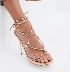 Simmi London Jenny rose gold tie up heeled sandals