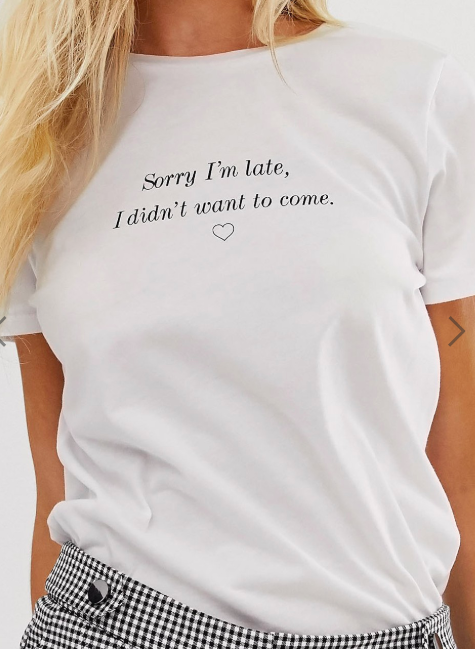 New Look slogan sorry I'm late slogan tee in white