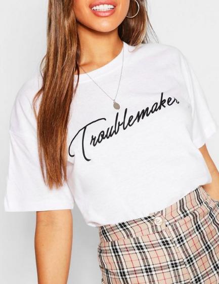 Petite Troublemaker Slogan T-Shirt