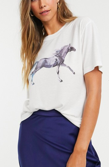 Neon Rose relaxed t-shirt with painted horse graphic