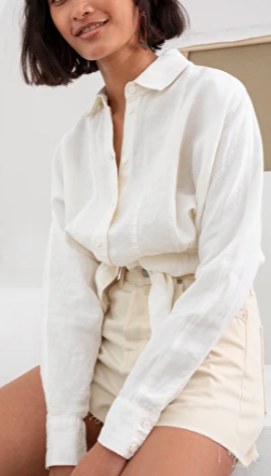 Stories Linen Front Tie Collared Blouse