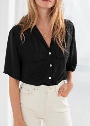 Stories Satin Workwear Button Up Shirt