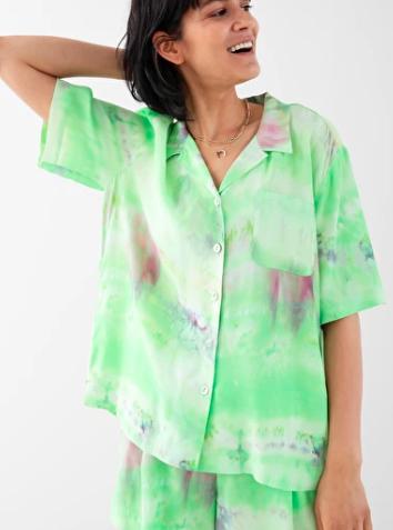 Stories Tie Dye Button Up Shirt