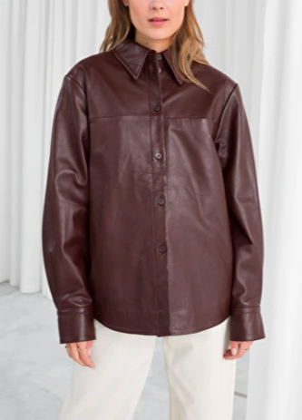 Stories Leather Button Up Shirt