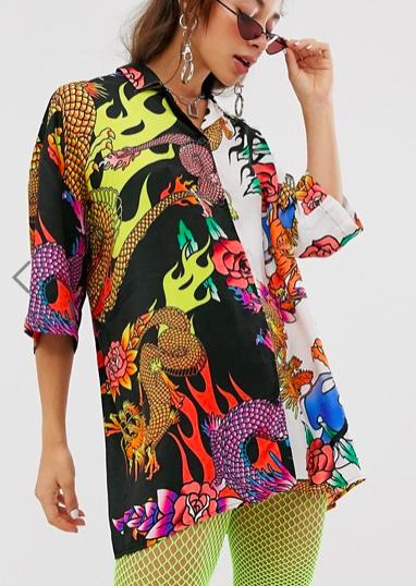 Jaded London mix print shirt in dragon graphic