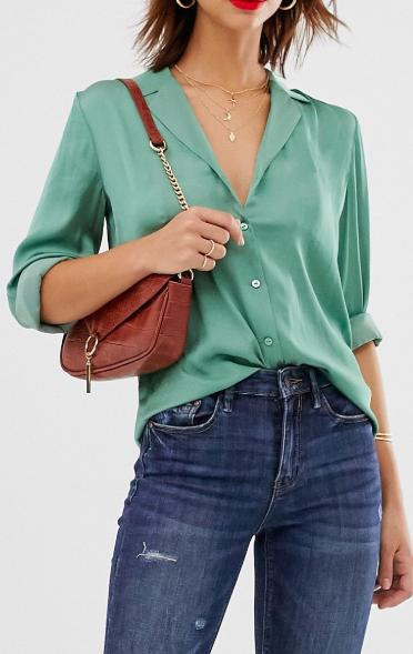 Warehouse satin shirt in green
