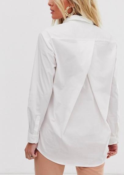 ASOS DESIGN slim boyfriend shirt with pleat detail back in stretch cotton