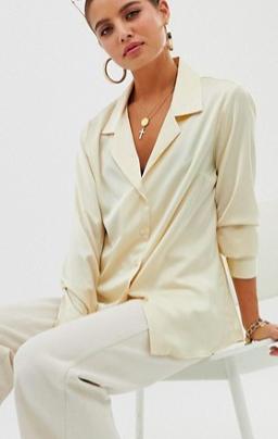 ASOS DESIGN relaxed satin long sleeve shirt