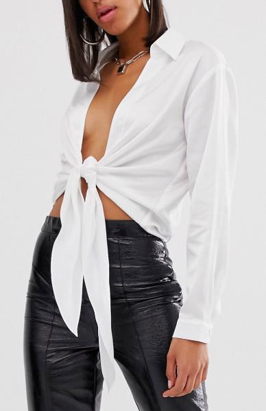 ASOS DESIGN long sleeve tie front deep plunge shirt