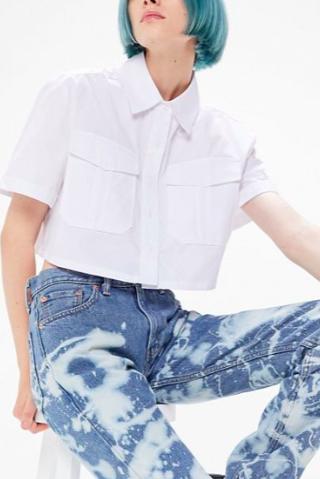 UO Lorelai Cropped Button-Down Shirt
