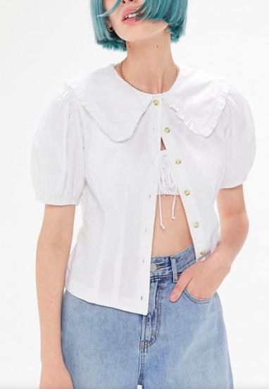 UO Henrietta Ruffle-Collar Blouse