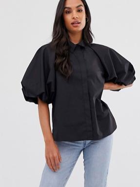 ASOS DESIGN shirt with short puff sleeve detail