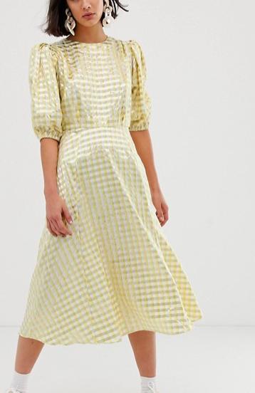 ASOS WHITE metallic gingham midi dress
