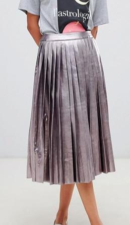 Neon Rose pleated midi skirt in metallic faux leather