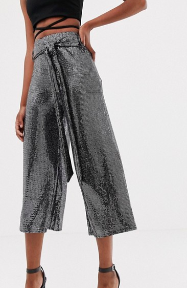New Look belted culottes in silver