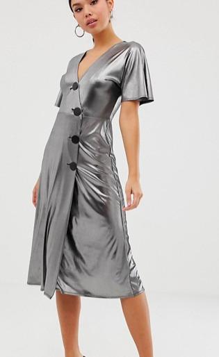 ASOS DESIGN silver metallic midi tea dress with metal buttons