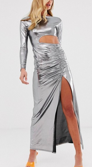 Fashionkilla cutout maxi dress with thigh split skirt detail in silver