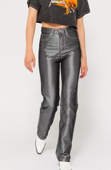 BDG Claudia High-Rise Straight Leg Jean – Metallic Denim