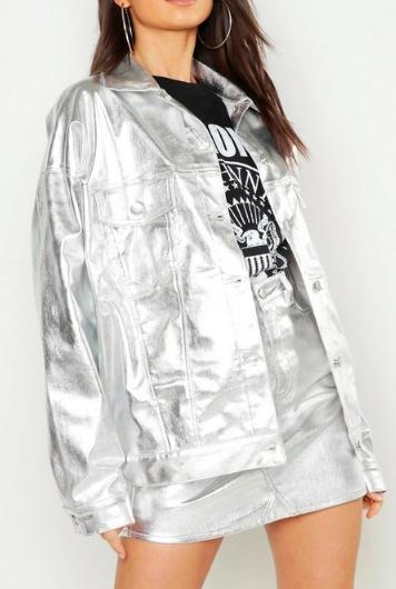 Boohoo Metallic Oversized Denim Jacket