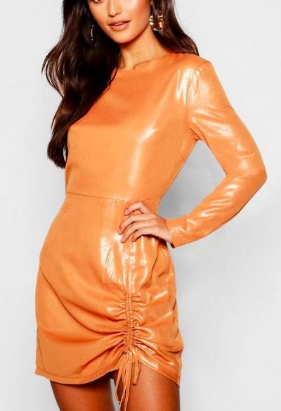 Petite Woven Metallic Ruched Detail Dress