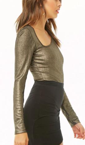 Forever 21 Metallic Asymmetrical Bodysuit