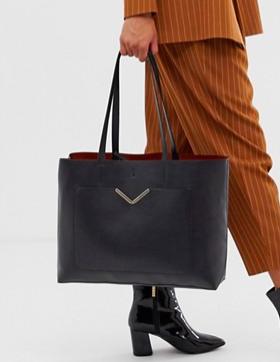 ASOS DESIGN hardware pocket shopper with removable clutch bag