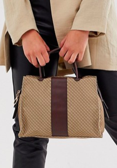 ASOS DESIGN mini monogram tote bag with contrast detail