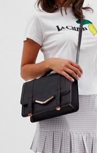 ASOS DESIGN v-bar structured satchel bag