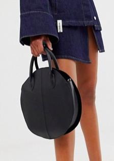 ASOS DESIGN leather structured circle shopper bag
