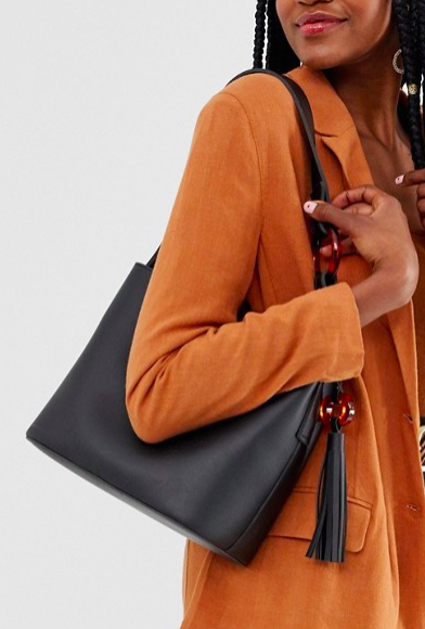 Glamorous oversized tote bag with resin ring detail