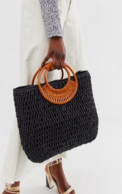 New Look woven straw bag in black