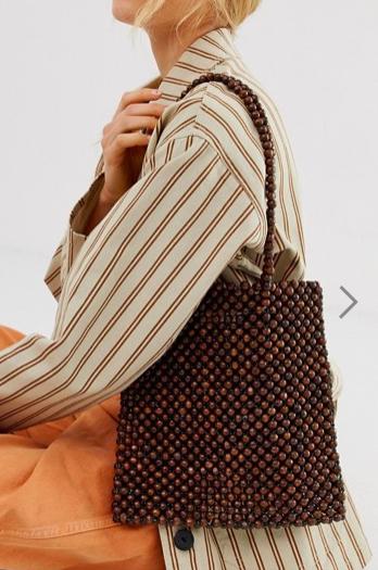 Glamorous wooden beaded shoulder bag