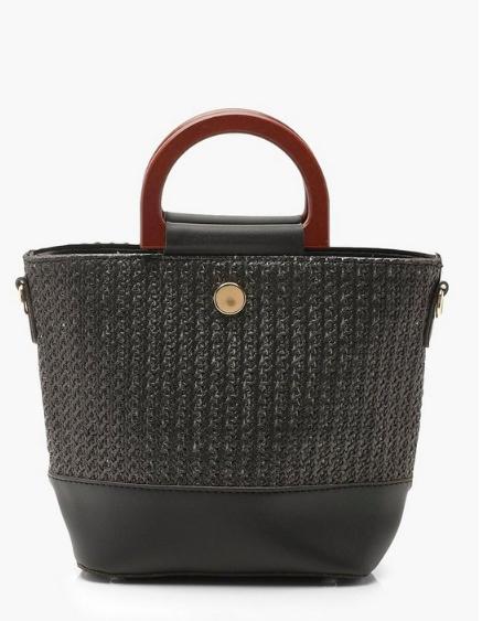 Boohoo Straw & Wooden Handle Bucket Bag