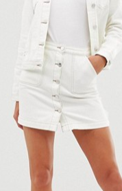 Lipsy denim skirt with contrast stitching in white