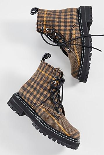 Proenza Schouler Plaid Lace Up Boots