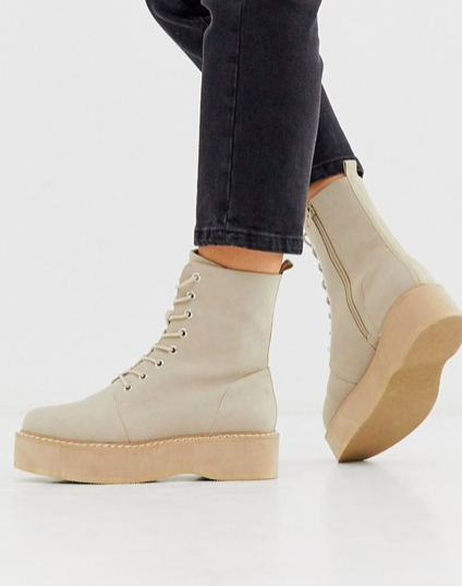 ASOS DESIGN Alva chunky lace up boots in sand