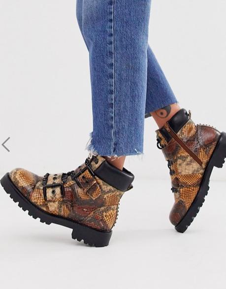 ASOS DESIGN Avenue hiker boots in snake