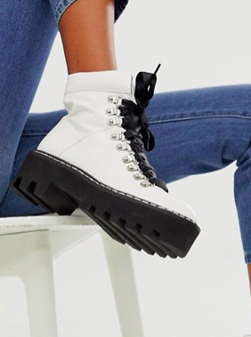 Lamoda white chunky lace up hiker boots
