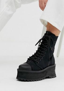 Demonia Grave Digger toe cap flatform boots in black