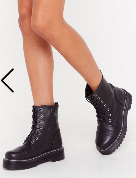 Nasty Gal Stiched Up Faux Leather Lace-Up Boot