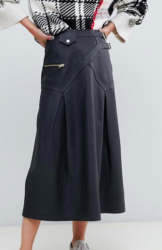 ASOS DESIGN premium leather midi kilt skirt