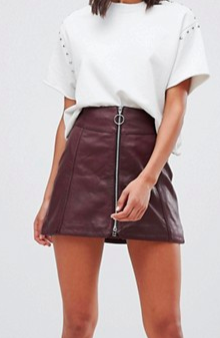 Goosecraft leather skirt with exposed zip