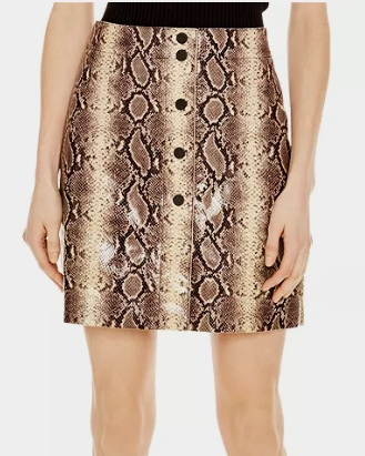 Sandro Kimberlay Snakeskin-Pattern Leather Mini Skirt