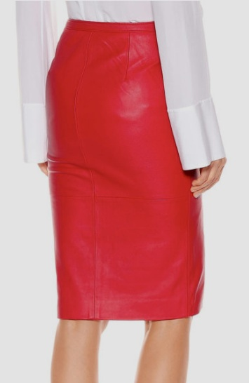 Leather Gaze PANELED DESIGN RED LEATHER PENCIL SKIRT