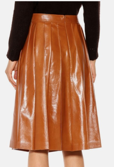 PLEATED MIDI LEATHER SKIRT FOR WOMEN