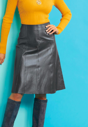 Metro Style Genuine Leather Flounce Skirt